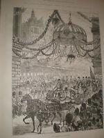 Emperor Wilhelm II of Germany in Cheapside London 1891 old print ref AZ