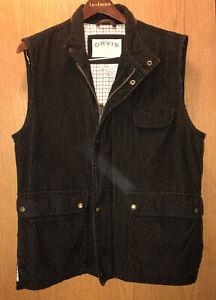 ORVIS Corduroy Vest COWBELLY LEATHER Trim - Blanket Flannel Lined Men's size M