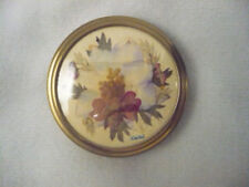 Vintage OOAK  signed round scarf clip or ring dried flower arrangement