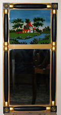 "Vintage Federal style two part mirror, eglomise panel, ebonized/gilt colmn, 30""t"