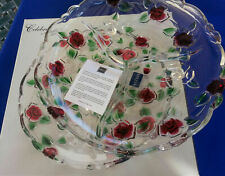 "MIKASA PLATTER RELISH CELEBRATIONS ROSE GARDEN CRYSTAL DIVIDED 10"" NEW FREESHIP"
