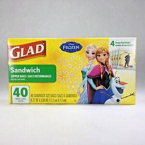 Disney Frozen GLAD Sandwich Zipper Bags Featuring Elsa Anna Olaf Kristoff NIB