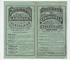 1877 Columbus, Sandusky, Springfield & Cincinnati Short Line Timetable and Map