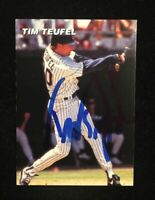 TIM TEUFEL RELIGIOUS AUTOGRAPHED SIGNED AUTO BASEBALL CARD METS