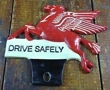 Mobil Gasoline Pegasus Red Flying Horse Gas Station License Plate Topper Fob