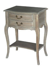 French Provincial Louis XV Wash White Bedside Table Night Stand with 2 Drawers