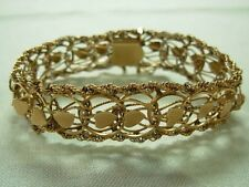 LOVELY VINTAGE 14K YELLOW GOLD HEART LINK ROPE EDGE BRACELET ~ 23 GRAMS!