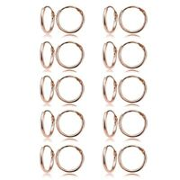 Set of 10 Pairs Small 10mm Round Unisex Hoop Earrings in Rose Gold Plated Silver