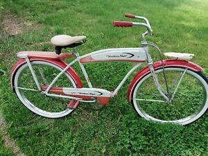 "Vintage 1953 Western flyer 26"" Mens tank balloon tire bicycle monark built auto"