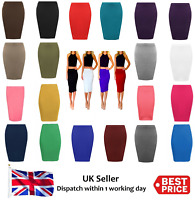 New Womens Midi Pencil Skirt Ladies Plus Size Tube Skirt Bodycon Office Home