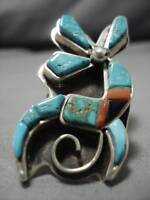 INCREDIBLE ZUNI CARICO LAKE TURQUOISE STERLING SILVER RING