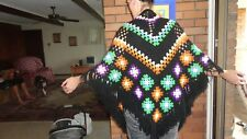 Boho Hippie retro hand made  Crochet Shawl multi color with black fringe