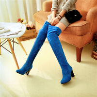 Women's Over The Knee High Boots Block High Heel Casual Faux Suede Shoes Pull on