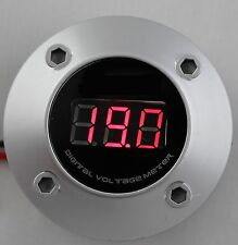 Silver 3 Digit Red Led 12v Round Digital Voltmeter Car Marine Rv Audio Video