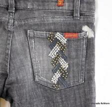 7FAM Sz 28 Jamaica Braided Embroidered Stud Washed Black Jeans