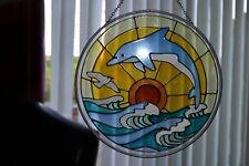 "8"" Diameter Circular Sun Catcher with Dolphins - #PW"