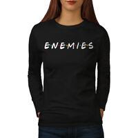 Wellcoda Buddies or Enemies Womens Long Sleeve T-shirt, Series Casual Design