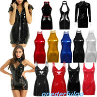 Women Lady Wetlook Leather Bodycon Short Mini Dress Night Clubwear Evening Party