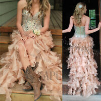 2018 Hi-Lo Sweetheart Formal Bridal Gowns Beads Organza Country Homecoming Dress