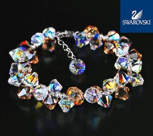 925 Sterling Silver Hand Made With Swarovski Crystals Gift Bridal Bracelet T20