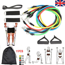 11PCS Resistance Bands Set Pull Rope Home Gym Equipment Yoga Fitness Exercise UK