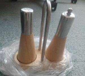 Wooden Salt and Pepper Mill Set with chrome stand