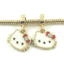DIY 2pcs Cat Gold European Charm Crystal Spacer Beads Fit Necklace Bracelet HOT