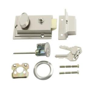 Door Lock with Night Latch, Defender Security Door  Lock Single Cylinder Rim