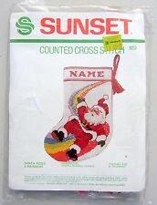 Vintage Sunset Counted Cross Stitch SANTA RIDES A RAINBOW Christmas Stocking New