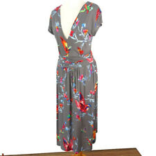 Joe Browns 10 Grey Floral Bird Print Jersey Stretchy Midi Dress Short Sleeve