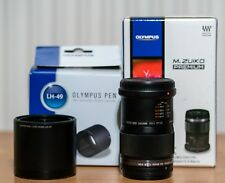 Olympus ED 60mm f2.8  macro, very near mint, boxed with Oly retracting hood