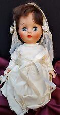 A Block Production Sleepy Blue Eyes Doll Wedding Dress Bride Veil Vintage 50's