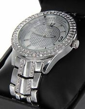 Geneva Platinum  Men Hip Hop White Gold Tone Iced Out Lab Diamond Rapper Watch