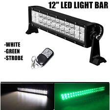 "GREEN LED LIGHT BAR 12"" Hog Hunting ATV UTV Jeep OFF-ROAD 4x4 STROBE LIGHT"