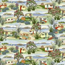 Retro Holidays Caravan  100% Cotton Fabric by Nutex  FQ 50cm x 55cm
