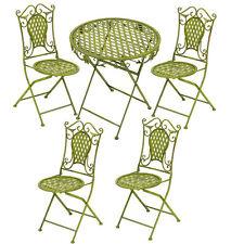 SALON DE JARDIN EN FER FORGE VERT 1 TABLE REPAS + 4 CHAISES SALLE A MANGER