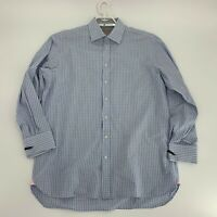 Thomas Pink Mens Dress Shirt Size 16.5 35 Blue Gingham Plaid French Cuff Woven