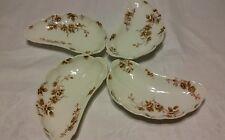 4 Vintage limoge brown,pink,red,beige flower shell nuts plate set