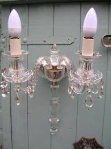 Vintage Crystal Wall Light / Candelabra. Large. Two Branch. C.1930/40.  (154)