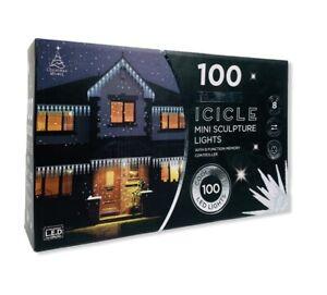 NEW Icicle Mini Sculpture 100PK Cool White Light 8 Function Christmas Light