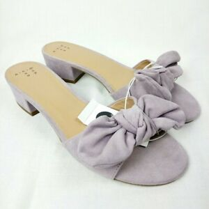 A New Day Mules Lavender Bow Open Toe