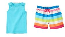 NWT Gymboree Rainbow Cabana Tank Top & Multi-Color Striped Shorts Outfit LOT 10