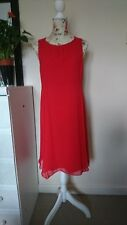COAST RED SHEER LINED DRESS SELF PLEAT ON SIDES SIZE 14-WORN ONCE
