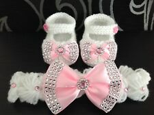 Hand knitted Romany Bling baby girl shoes and Crochet headband 0-3 months