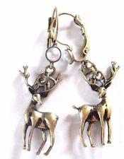 BRONZE DEER EARRINGS dangle pendant buck stag antlers elk nature retro pearl 2D