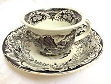 Antique mid-1800s Black Transferware Mulberry Victorian Romantic Cup and Saucer
