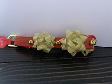 Dog Collar Christmas Red W Green Polka Dots Gold Bows Jingle Bells  L 18-26 Inch