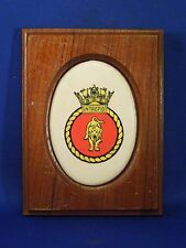 Vintage Ceramic Wood HMS Intrepid Ship's Crest Wall Hanging Plaque Lion