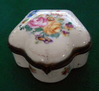 Antique Limoges Floral Decorated Enamel Porcelain Trinket Box