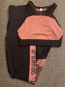 Victorias Secret PINK- Ultimate sport bra and leggings set- Pink and black XS